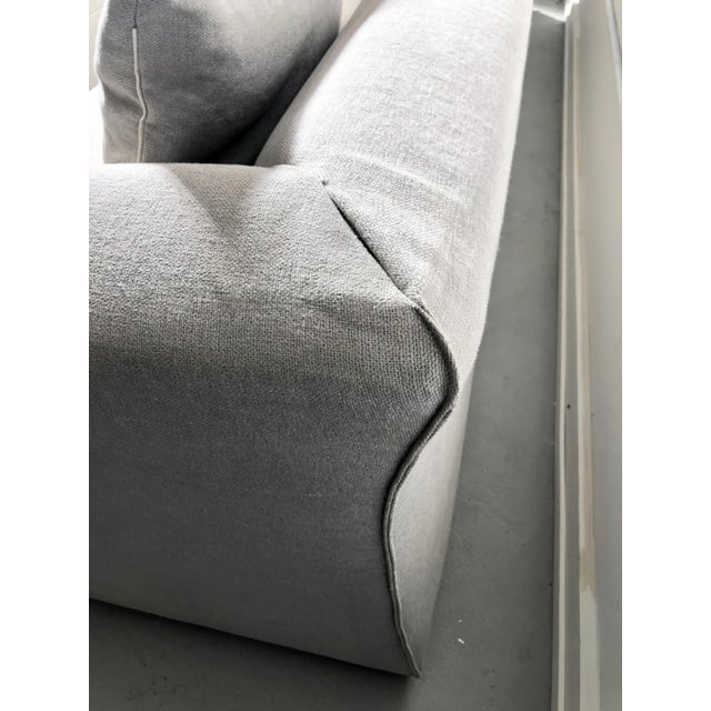 Modern Modular Sofa and Ottoman Light Grey and White Piping by Mdf Italia For Sale In San Francisco - Image 6 of 12