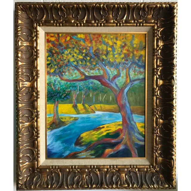 """Spectacular brushstroke and vivid colors reminiscent of Vincent Van Gogh, but with more contrast. The 16"""" x 20"""" painting..."""