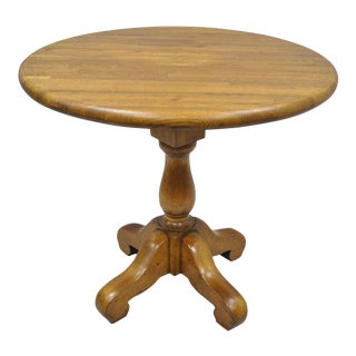 Vintage French Country Round Oak Butcher Block Top Dining Table on Pedestal Base