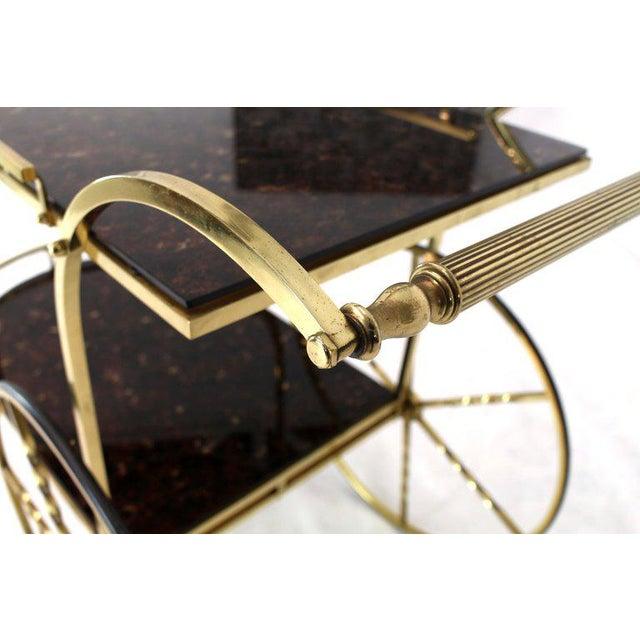 1970s Mid-Century Modern Brass Tortoise Finish Glass Bar Serving Cart For Sale - Image 6 of 8