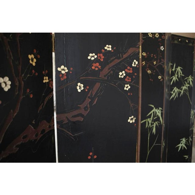 Chinese 12-Panel Double Sided Gold Black Lacquered Coromandel Screen For Sale - Image 9 of 10