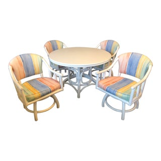 1980's White Lacquered Rattan Dining Table, 4 Swivel Chairs and Leaf by Clark Casual - Set/5 For Sale