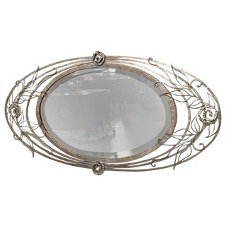 French Art Deco Geometric and Floral Wall Mirror For Sale