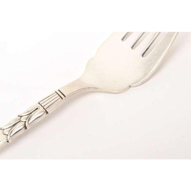Metal Sterling Silver Hallmarked Danish Frigast Large Serving Fork For Sale - Image 7 of 10