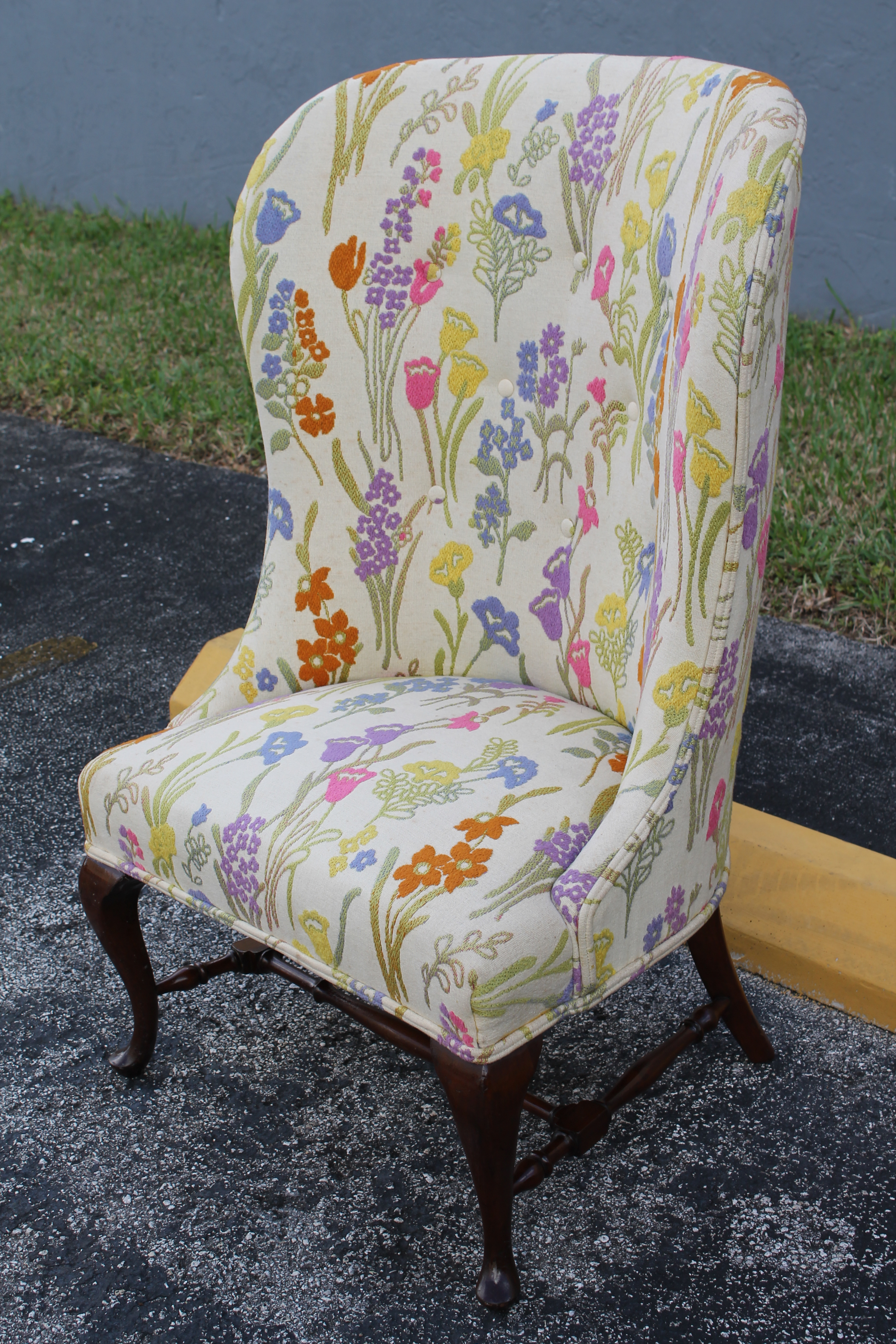 Vintage Mid Century Floral Wingback Chair   Image 4 Of 11
