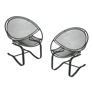 Wrought Iron Radar Lounge Chairs by Salterini, Circa 1950 - a Pair For Sale