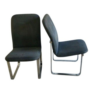 1970s Mid-Century Modern Milo Baughman for Dia Fabric and Chrome Dining Chairs - a Pair