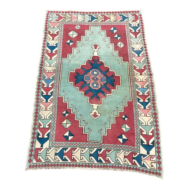 Antique Turkish Anatolian Aztec Decorative Hand Rug - 4′4″ × 6′7″ For Sale