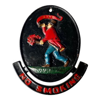 Vintage Cast Iron No Smoking Firefighter Plaque Sign by Virgina Metalcrafters For Sale