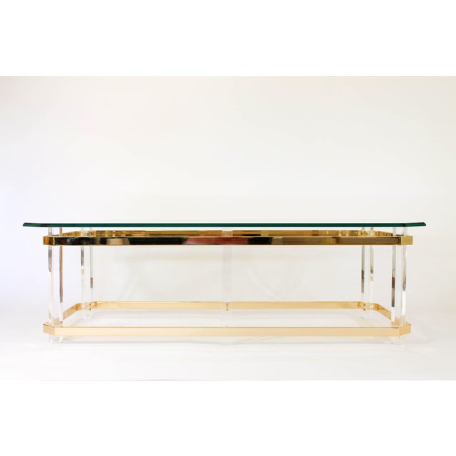 Brass Lucite and Brass Coffee Table For Sale - Image 7 of 7