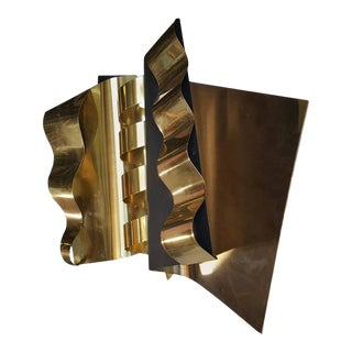 1970s Modernist Abstract Brass and Enamel Wall Sculpture by C. Jere For Sale