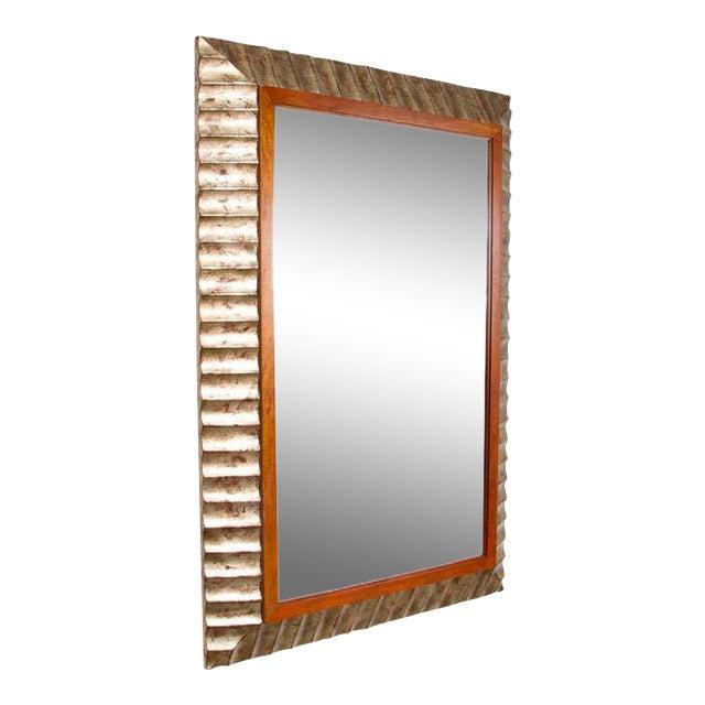 John Black for Baker Silver Leaf Fluted Frame Mirror For Sale