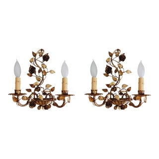 1920s Gilt French Floral Rose Wall Sconces - a Pair For Sale
