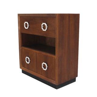 Walnut Mid Century Modern Drop Down Desk Secretary For Sale