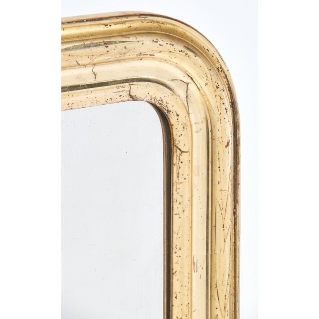 Mid 19th Century 19th Century Antique French Gold Leaf Mirror For Sale - Image 5 of 10