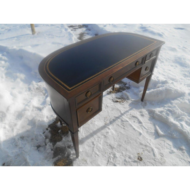 French Provincial Sligh Leather Top Ladies Writing Desk & Chair For Sale - Image 3 of 11