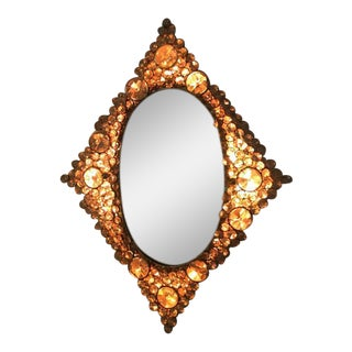 Gilded Brass Diamond-Shaped Mirror