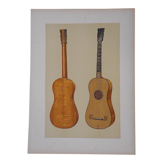 Antique Lithograph of Musical Instruments, Guitar - Image 1 of 4