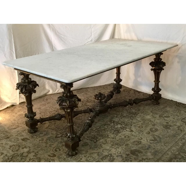 French 19th Century French Carved & Polychrome Table Base With Carrara Marble Top For Sale - Image 3 of 13