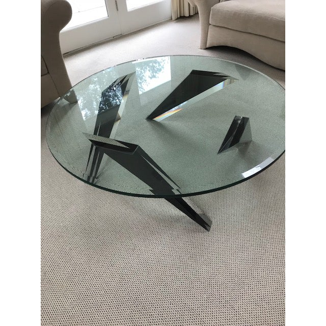 Modern Round Glass Coffee Table - Image 2 of 3