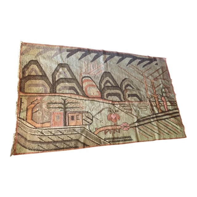Mid-Century Turkish Landscape Motiff Rug - 5′2″ × 8′8″ - Image 1 of 10