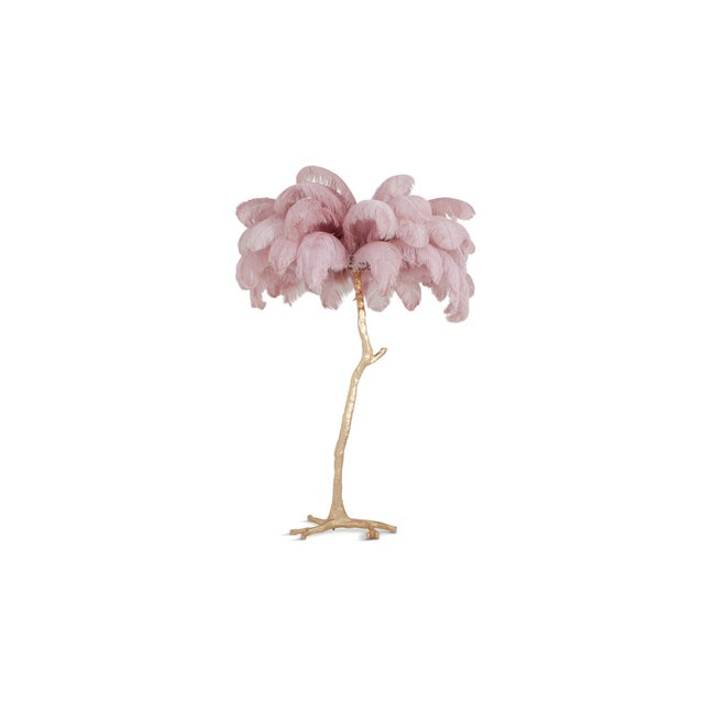 Gold Hollywood Regency Feather Palm Tree Floor Lamp in Gold and Pink For Sale - Image 8 of 8