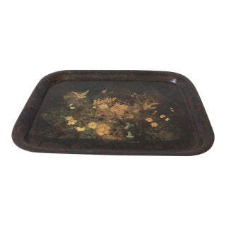 Large Late 19th Century French Country Black Lacquer/Tole Tray For Sale