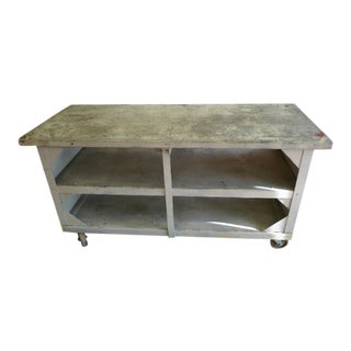 Industrial Kitchen Island, Worktable, Entertainment Center on Wheels. For Sale