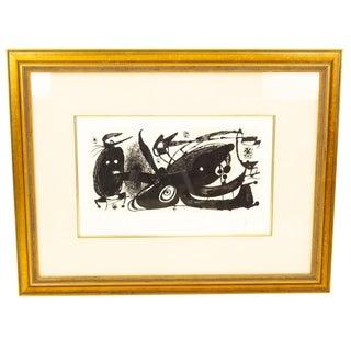 Vintage Mid-Century Joan Miro Escultor Stuiet Black & White Pencil Lithograph For Sale
