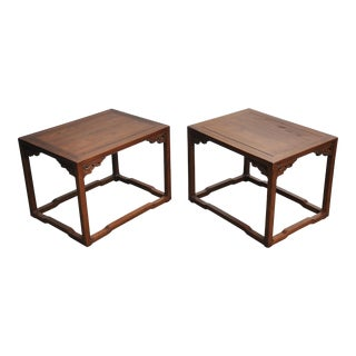Ming Style Small Chinese Elm Tables - a Pair For Sale