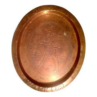 Copper Johnnie Walker Bar Tray, Marked, 1800s