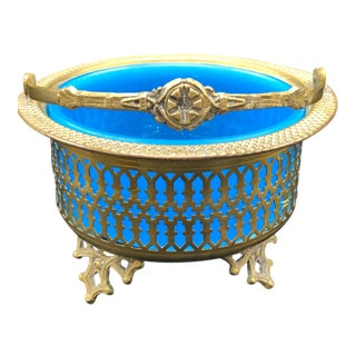 19th Century Antique French Blue Opaline Glass Brass Basket For Sale