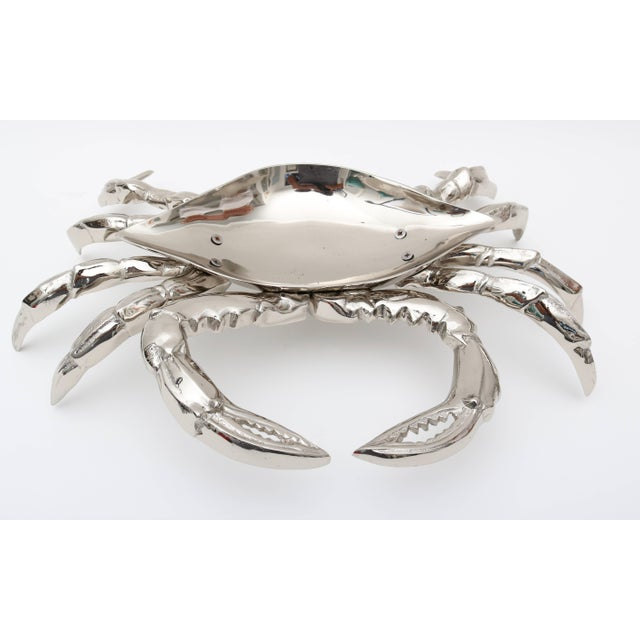 Early 21st Century Nickle-Plated Life Size Crab Form Lidded Dish by Angel & Zevallos C. 2017 For Sale - Image 5 of 10