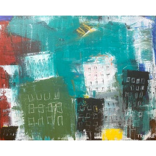 """""""Urban Jungle"""" Contemporary Abstract Cityscape Acrylic Painting by Sarah Trundle For Sale"""