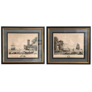 Antique French Nautical Engravings - a Pair