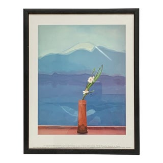 "Final Markdown Pop Art Framed Museum Lithograph ""Mount Fuji and Flowers"" by David Hockney For Sale"