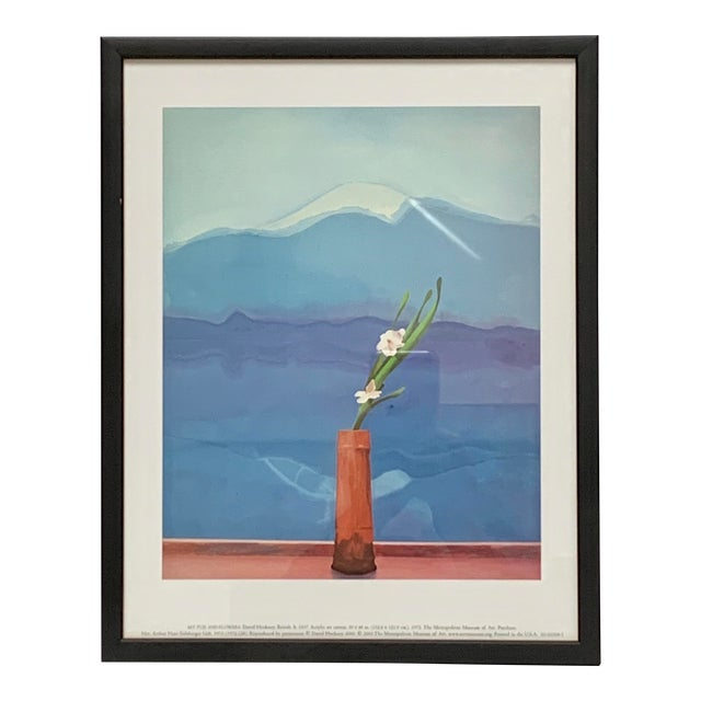 """Pop Art Framed Museum Lithograph """"Mount Fuji and Flowers"""" by David Hockney For Sale"""