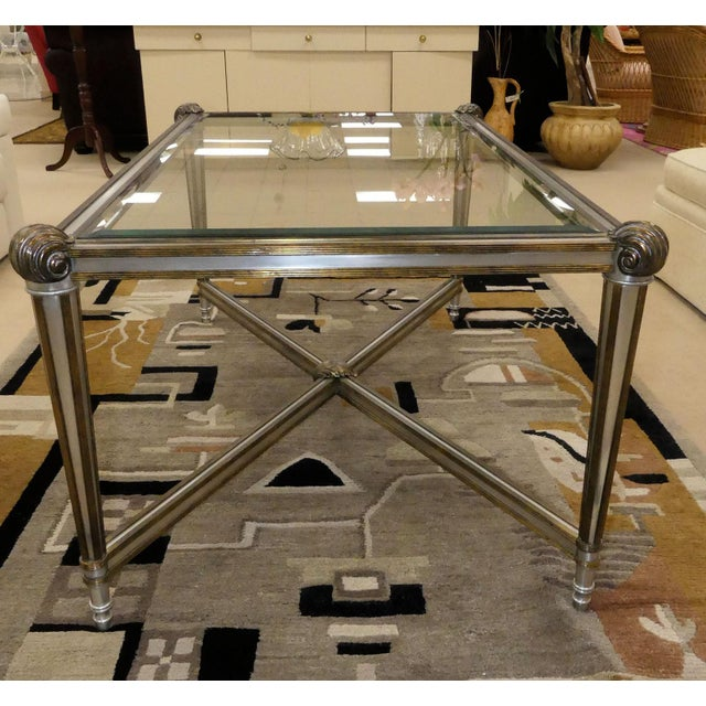 LaBarge Hollywood Regency Brass & Steel Coffee Table For Sale - Image 11 of 13