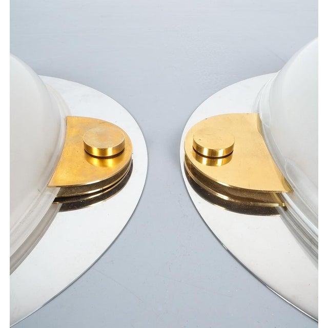 Luigi Caccia Dominioni Flush Mounts or Sconces Brass Chrome Glass, Circa 1978 For Sale - Image 11 of 13