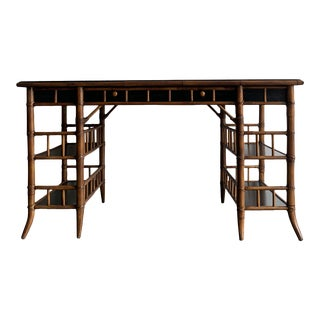 1940s Bamboo Writing Desk by Baker For Sale