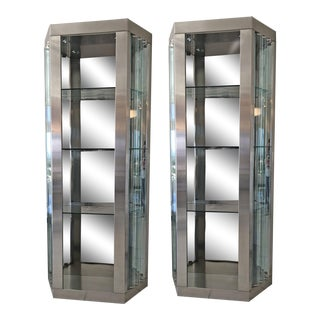 Pair of Modernist Rougier Stainless and Glass Shelving Vitrines For Sale