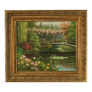 Gilt Frame Hand Painted Oil on Canvas Bridge Over Water Lily Pond For Sale