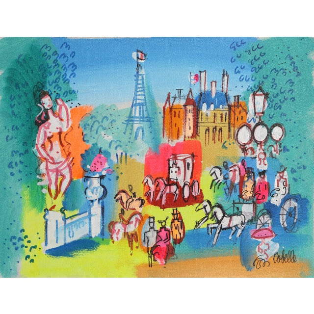 "Figurative Charles Cobelle, ""Paris Landscape With Eiffel Tower"" For Sale - Image 3 of 3"