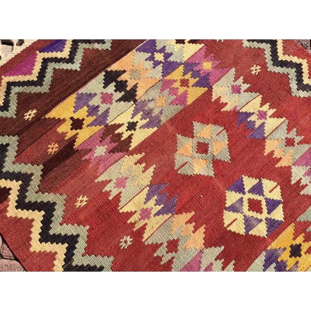1960s Hand Made Vintage Turkish Kilim Rug For Sale - Image 5 of 10