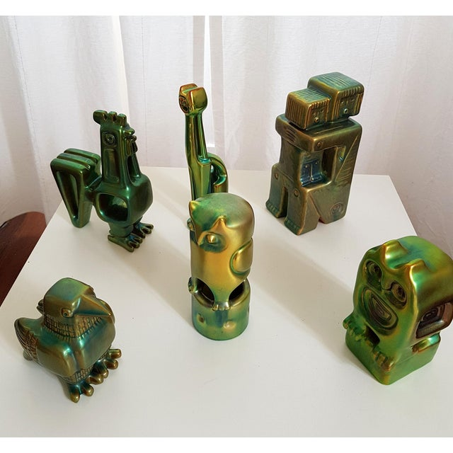 Figurative Set of Six Ceramic Eosin Figures by Zsolnay, With 1960s Stamps For Sale - Image 3 of 12