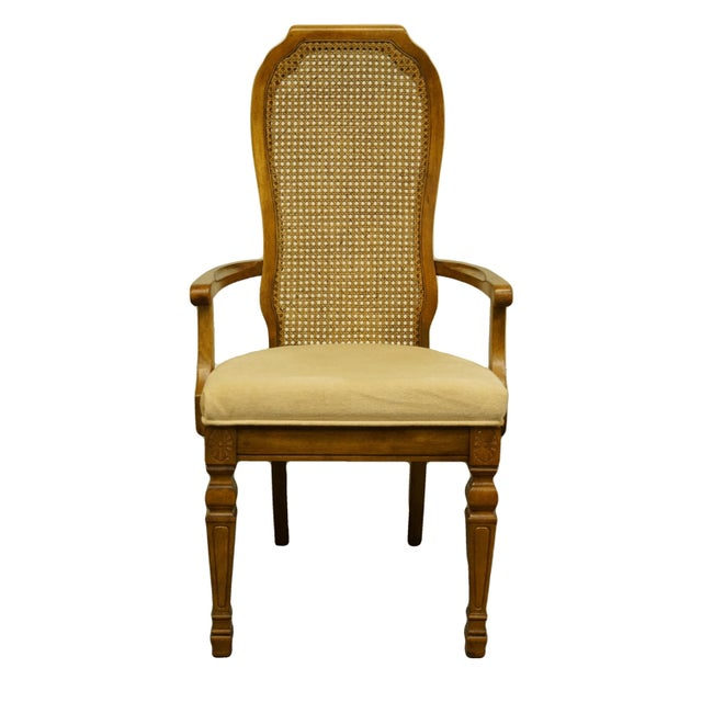 Late 20th Century Bernhardt Furniture Italian Provincial Cane Back Dining Arm Chair For Sale - Image 11 of 11