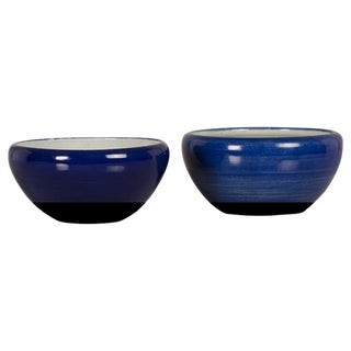 19th Century Qing Dynasty Chinese Glazed Cobalt Earthenware Bowls - a Pair For Sale