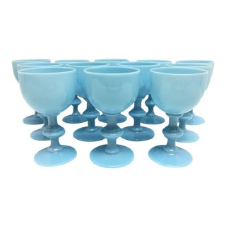 Vintage French Portieux Vallerysthal Blue Opaline Glassware - Set of 12 For Sale