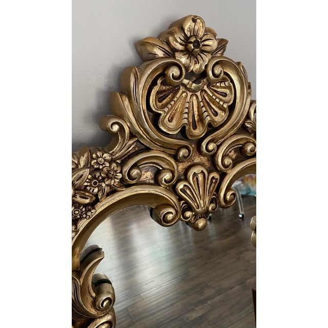 Baroque Carved Gilded Giltwood Mirror For Sale - Image 4 of 6