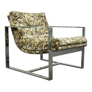 Mid Century Milo Baughman Thayer Coggin Style Chrome Flat Bar Lounge Arm Chair For Sale